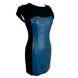 MMCouture Leather Cocktail Dress Black Teal Medium